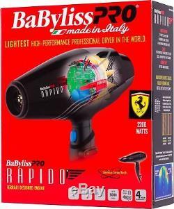 BABYLISS PRO Rapido Ferrari Engine 2000 WATTS Hair Blow Dryer BF7000