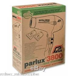 PARLUX 3800 BLACK Hair Dryer Ceramic & Ionic Super Compact Hairdryer