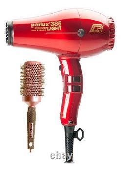 Parlux 385 RED Hair Dryer Powerlight Ceramic Ionic + FREE Brush + 2 Nozzles