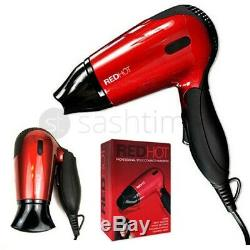 Red Hot Professional Style Travel Compact Foldable Hair Dryer W 2 Heat Settings