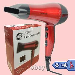 Red Professional Salon Hair Air Dryer With Nozzle Blower 2200W Heat Hot