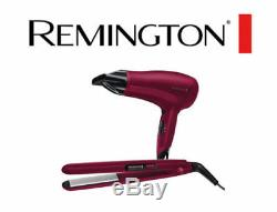 Remington D3010GP Hair Dryer 2000W and Ceramic Hair Straightener Gift Pack Pink